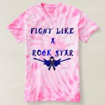 Colon Cancer Rock Star Ladies Tie-Dye T-Shirt