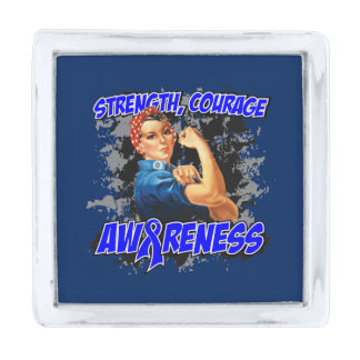 Colon Cancer Strength Courage Awareness Silver Finish Lapel Pin