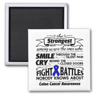 Colon Cancer Strongest Among Us 2 Inch Square Magnet