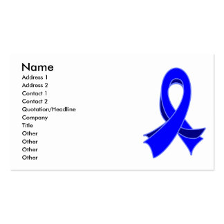 Colon Cancer Stylish Blue Ribbon Business Card