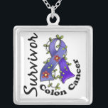 """Colon Cancer Survivor 15 Silver Plated Necklace<br><div class=""""desc"""">To see this design for additional causes as well as the complete Awareness Gift Boutique Collection of exclusive Colon Cancer Awareness and Support designs, please visit our Colon Cancer Section at Colon Cancer Survivor t-shirts and gifts featuring a blue Colon Cancer awareness ribbon entwined in leaves and flowers in an...</div>"""