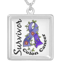 Colon Cancer Survivor 15 Silver Plated Necklace