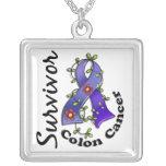 Colon Cancer Survivor 15 Square Pendant Necklace