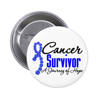 Colon Cancer Survivor Awareness Journey Ribbon Pinback Button