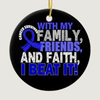 Colon Cancer Survivor Family Friends Faith Ceramic Ornament