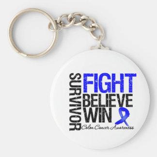 Colon Cancer Survivor Fight Believe Win Motto Key Chain