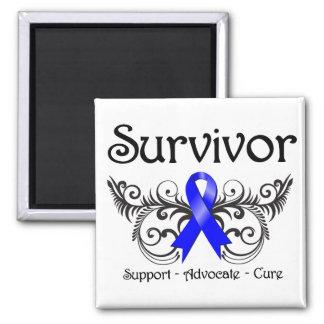 Colon Cancer Survivor Floral Deco 2 Inch Square Magnet