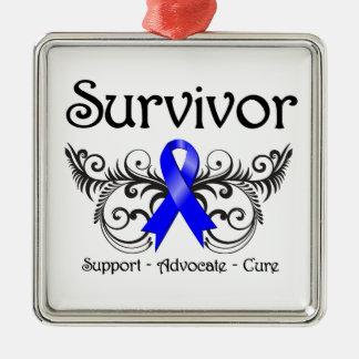 Colon Cancer Survivor Floral Deco Metal Ornament