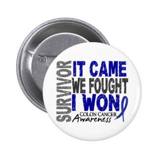 Colon Cancer Survivor It Came We Fought I Won 2 Inch Round Button