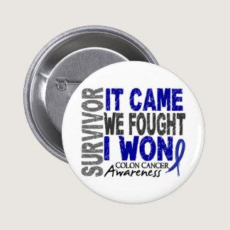 Colon Cancer Survivor It Came We Fought I Won Pinback Button