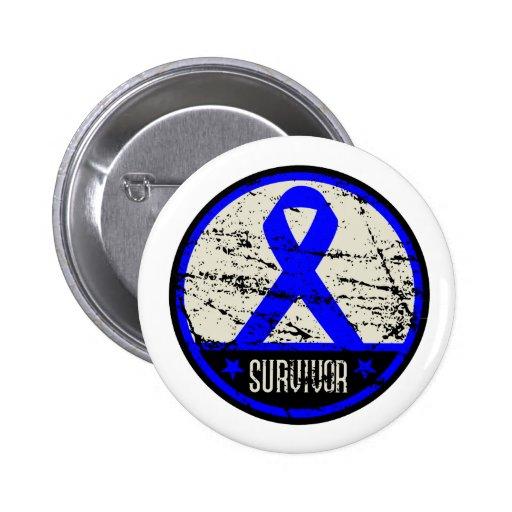 Colon Cancer Survivor Mens Vintage Buttons