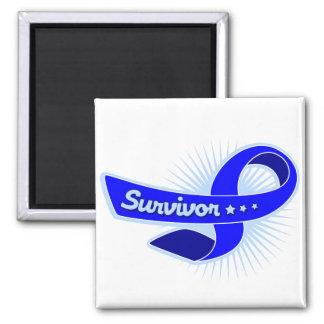 Colon Cancer Survivor Ribbon 2 Inch Square Magnet