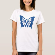 Colon Cancer t-shirt with Blue Butterfly & ribbon