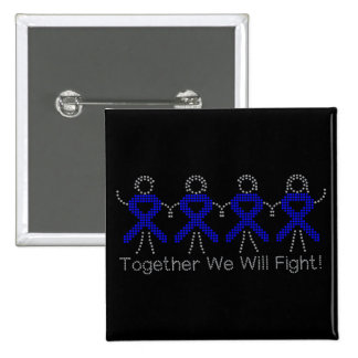 Colon Cancer Together We Will Fight 2 Inch Square Button