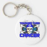 Colon Cancer Tougher Than Cancer Skull Keychain