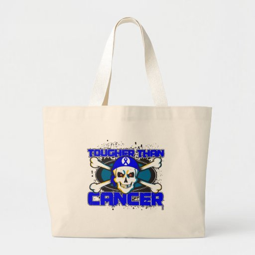 Colon Cancer Tougher Than Cancer Skull Tote Bags