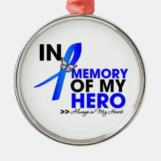 Colon Cancer Tribute In Memory of My Hero Round Metal Christmas Ornament