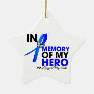 Colon Cancer Tribute In Memory of My Hero Double-Sided Star Ceramic Christmas Ornament