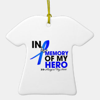 Colon Cancer Tribute In Memory of My Hero Double-Sided T-Shirt Ceramic Christmas Ornament