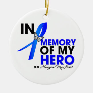 Colon Cancer Tribute In Memory of My Hero Double-Sided Ceramic Round Christmas Ornament