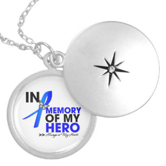 Colon Cancer Tribute In Memory of My Hero Round Locket Necklace