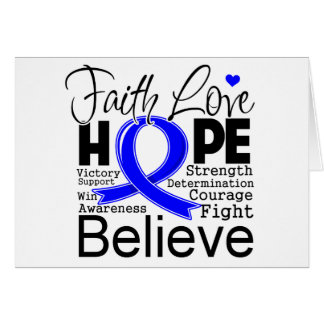 Colon Cancer Typographic Faith Love Hope Greeting Card