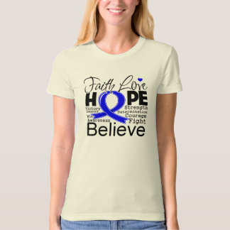 Colon Cancer Typographic Faith Love Hope T-shirts