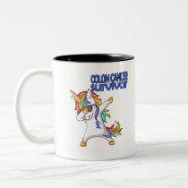 COLON CANCER UNICORN Survivor Stand-Fight-Win Two-Tone Coffee Mug
