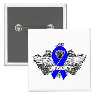 Colon Cancer Winged SURVIVOR Ribbon Pinback Button