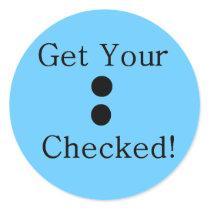 Colon Check Classic Round Sticker