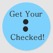 Colon Check Classic Round Sticker