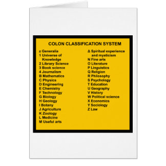 Colon Classification System by Letter Card