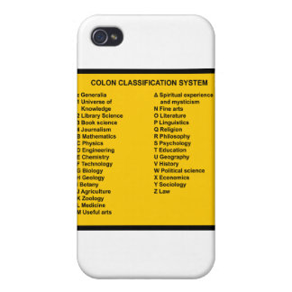 Colon Classification System by Letter iPhone 4/4S Cover