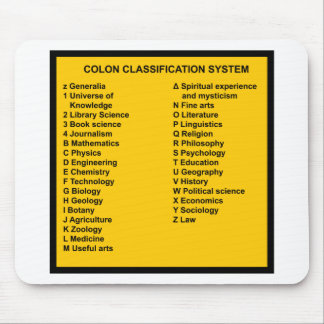 Colon Classification System by Letter Mouse Pad