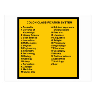 Colon Classification System by Letter Postcard