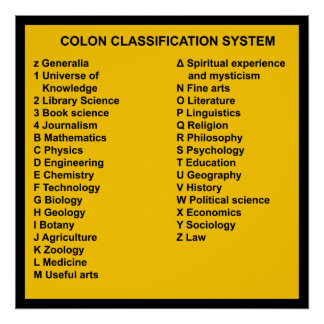 Colon Classification System by Letter Posters