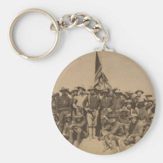 Colonel Roosevelt and his Rough Riders Basic Round Button Keychain