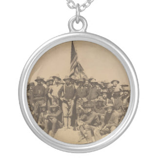 Colonel Roosevelt and his Rough Riders Round Pendant Necklace