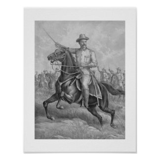 Colonel Roosevelt Leading Troops Poster