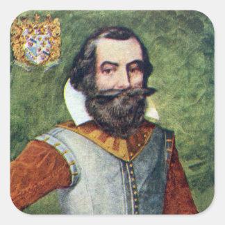 Colonia de capitán John Smith Jamestown Pegatina Cuadrada
