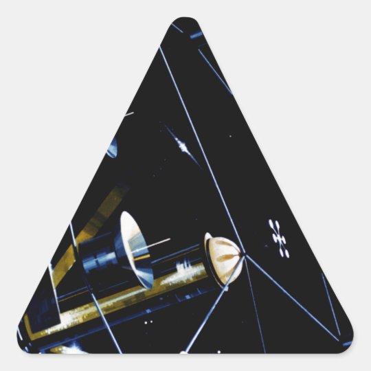 Colonia de la estación espacial - viva en espacio pegatina triangular
