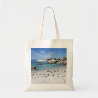 Colonia del pingüino en bolso de la playa de los bolsa tela barata