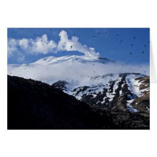 Colonia del volcán y del auklet de la isla de Kisk Felicitacion