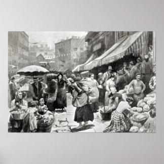 Colonia italiana de la curva de la mora en Nueva Y Poster