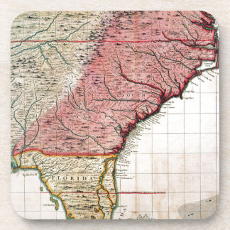 COLONIAL AMERICA MAP, 1733 COASTER