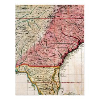 COLONIAL AMERICA MAP, 1733 POSTCARD