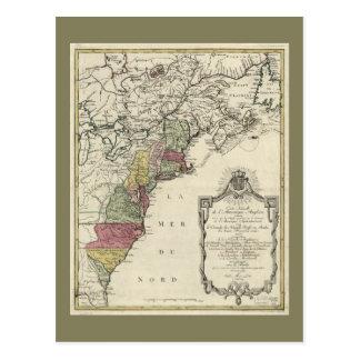 Colonial America Map by Matthaus Lotter (1776) Postcard