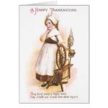 Colonial American Girl and her Spinning Wheel Greeting Cards