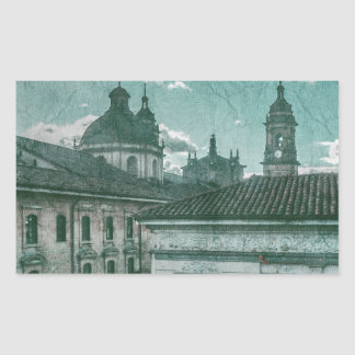Colonial Architecture at Historic Center of Bogota Rectangular Sticker