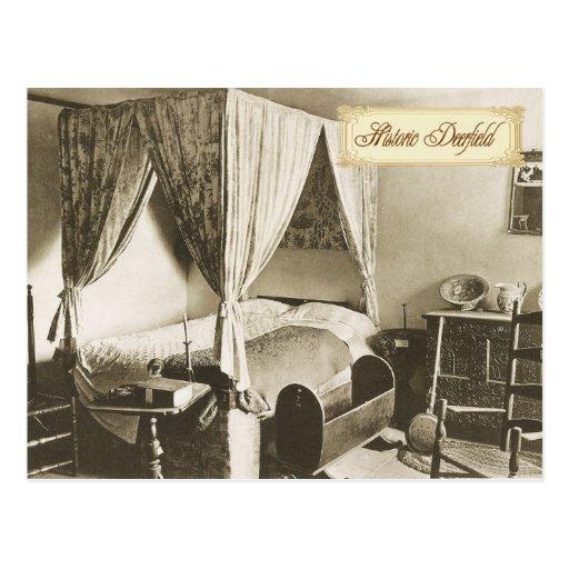 Colonial Bedroom in Historic Deerfield, MA Post Card